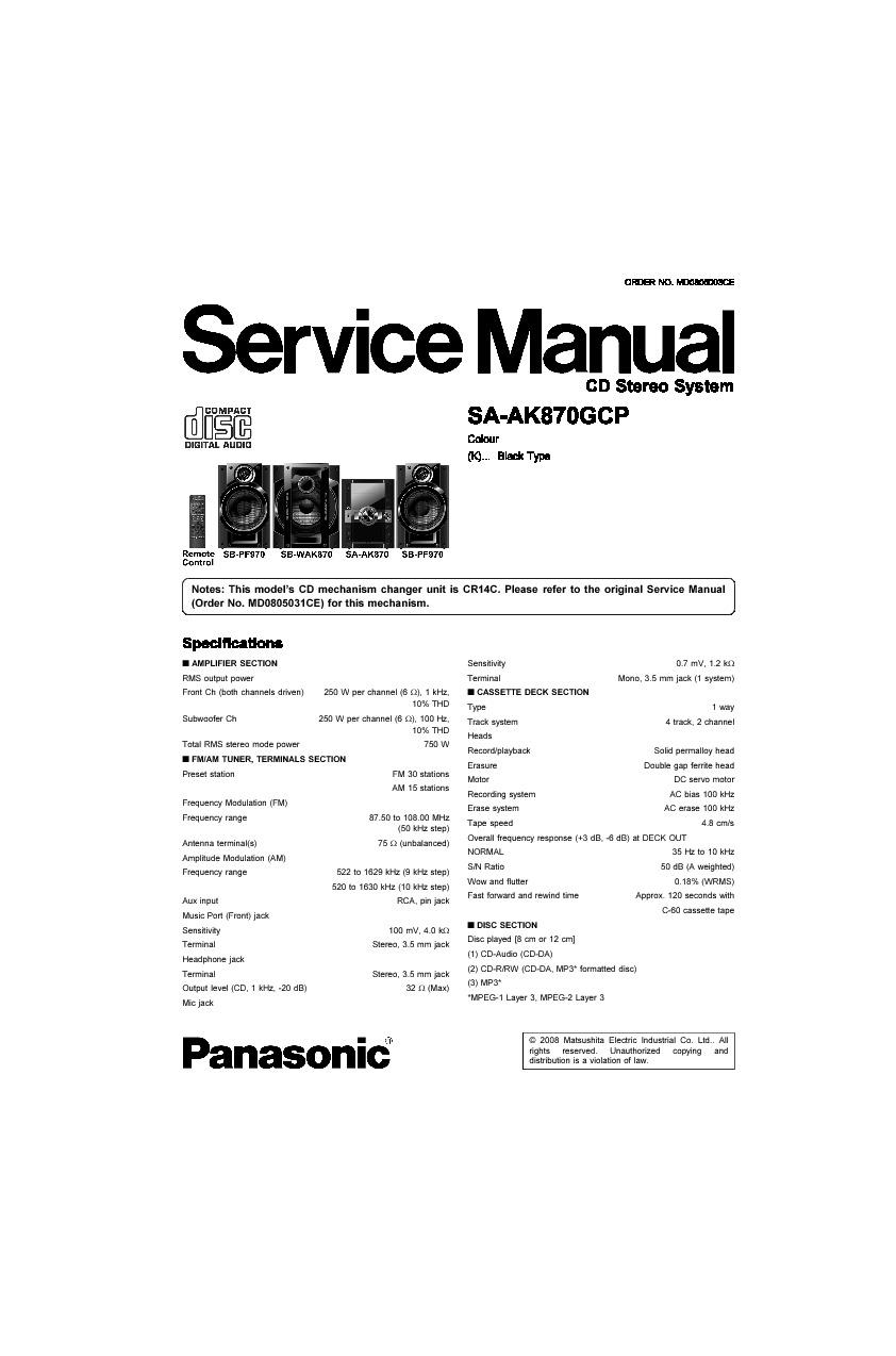 panasonic panasonic sa ak870 pdf diagramas de audio