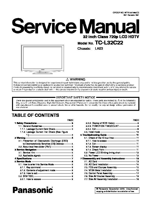 Panasonic TC - L32C22 Chasis LA03.pdf