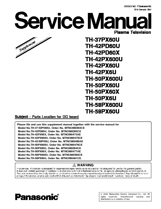 panasonic th 42pd60x supplement pdf diagramas de televisores lcd y plasma