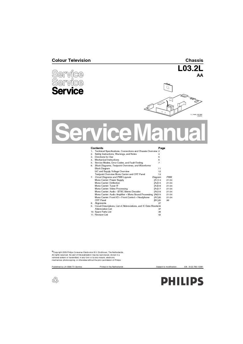 Philips Philips 14pt3005 55 Chasis L03 2l Aa Pdf Diagramas
