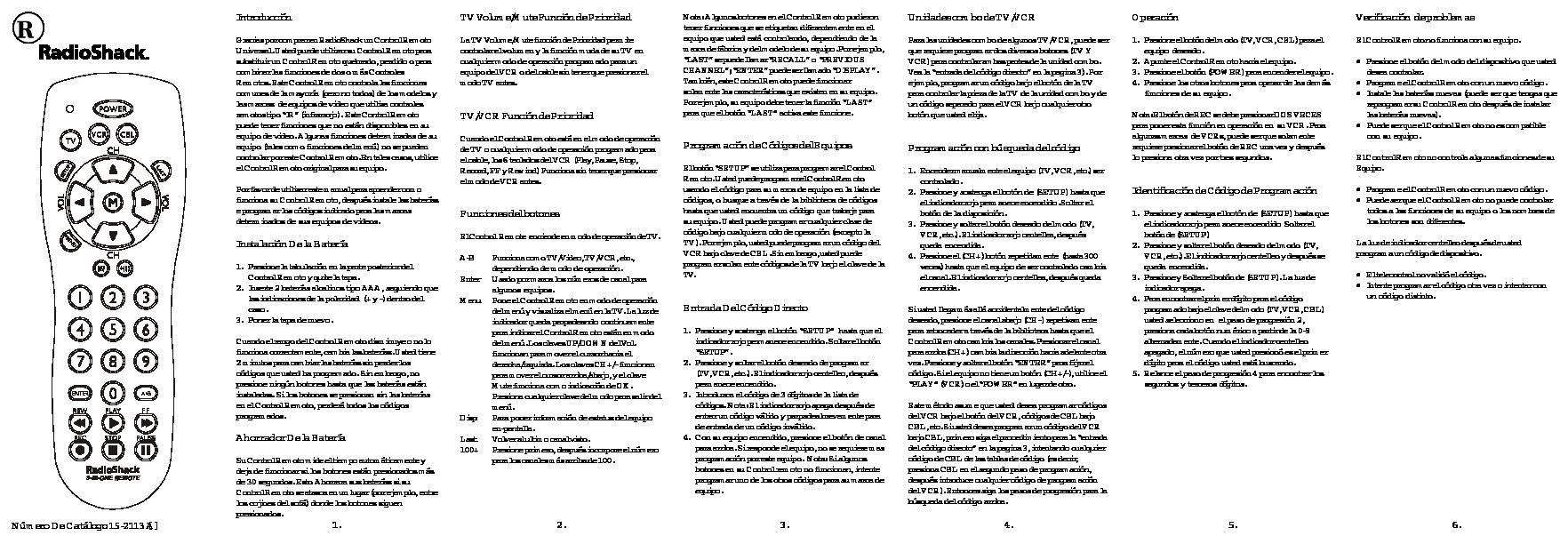 CONTROL REMOTO RADIO SHACK LISTA DE CODIGOS.pdf
