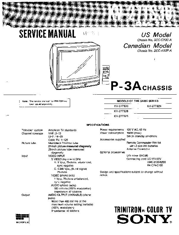 sony sony kv 27ts30 chasis p 3a pdf diagramas de