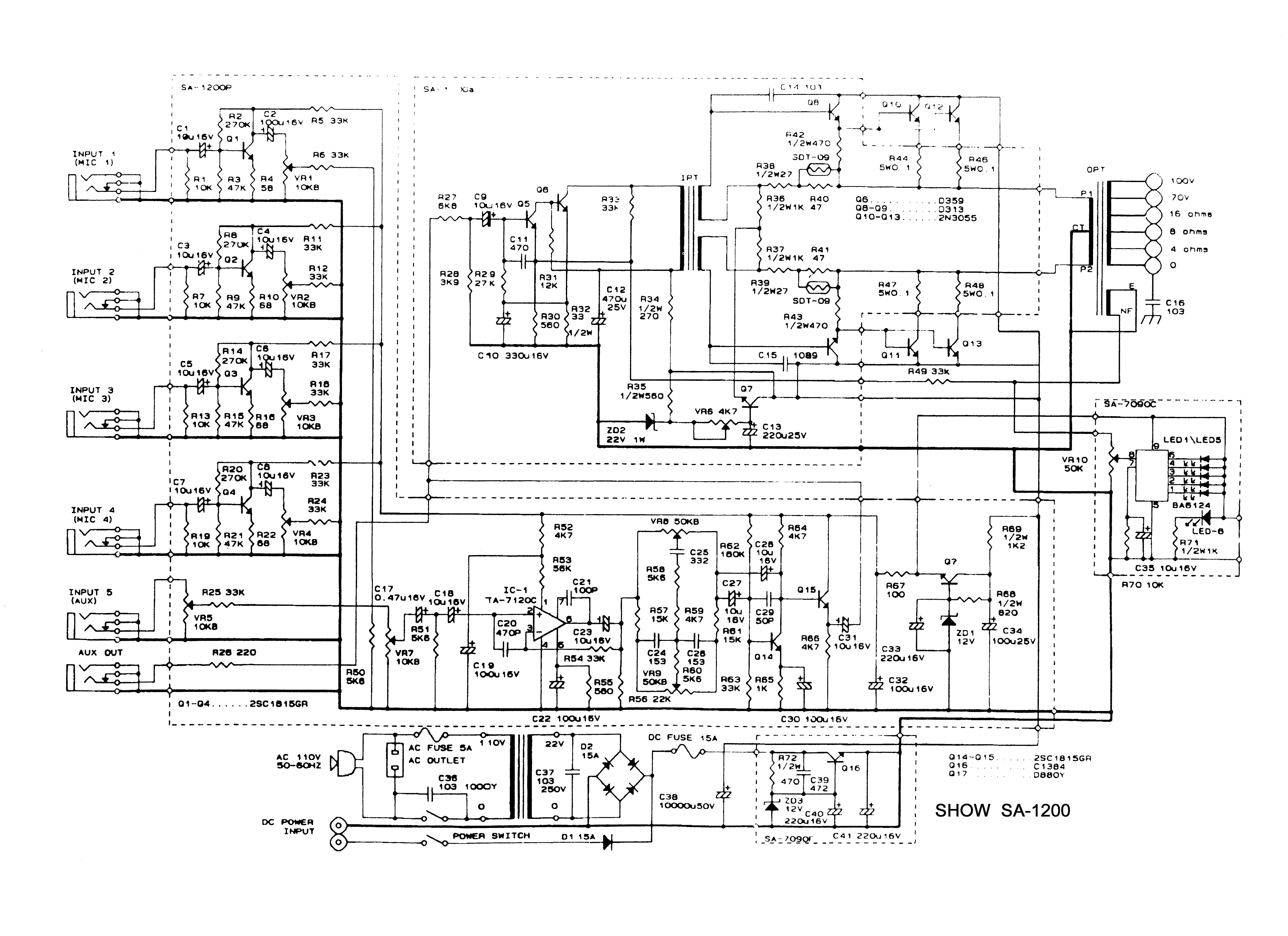 varios show sa 1200 show sa1200 sch pdf diagramas de audio