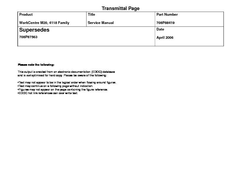 Xerox Xerox 4118 Xerox Workcentre 4118 M20 Service Manual border=