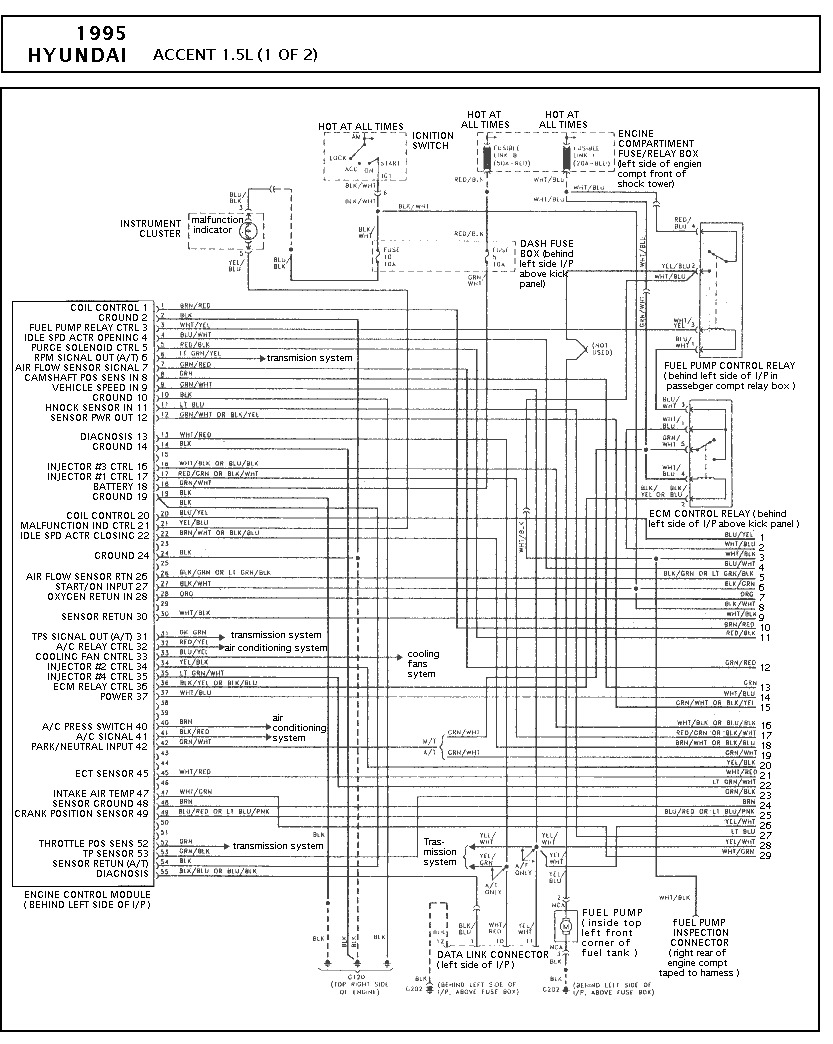 Wiring Diagram Hyundai Accent 1999 : Wire diagrams for hyundai free engine image