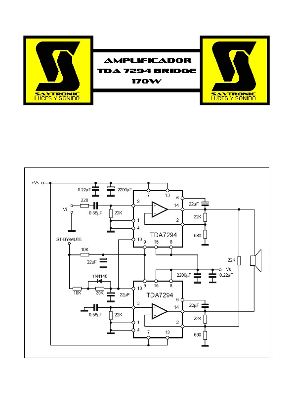 Amplificador TDA7294 Bridge 170W.pdf