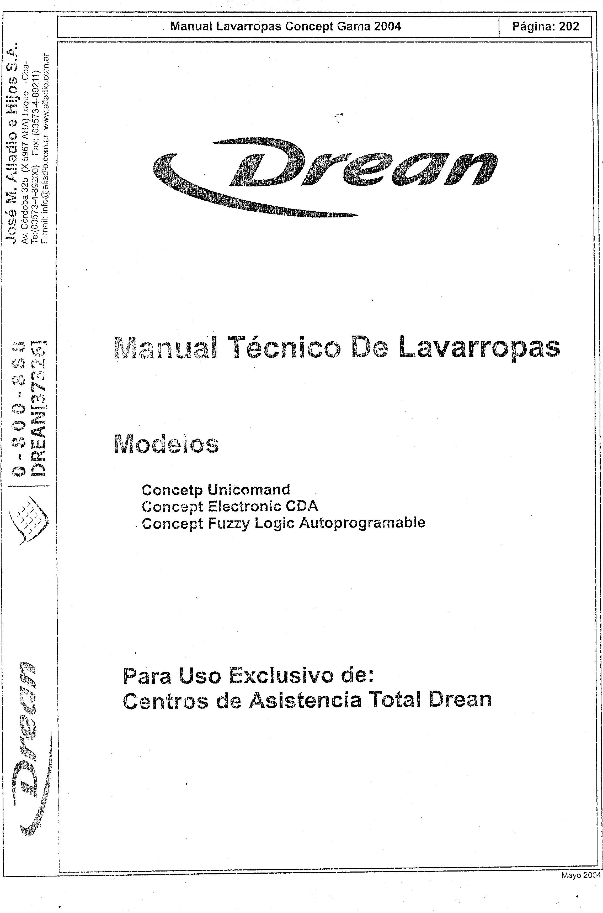 Drean Drean Unicommand 202 Jpg Diagramas De Lavarropas