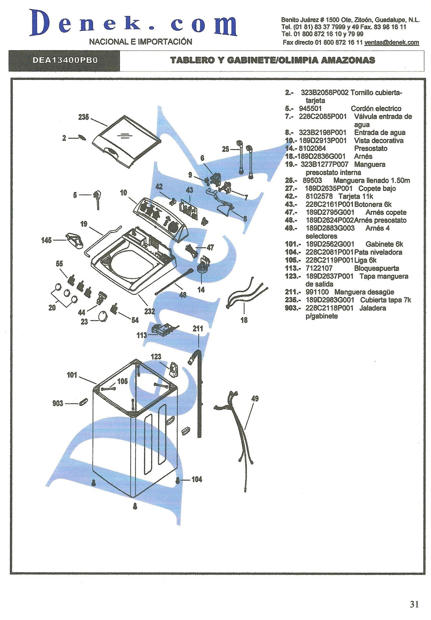 Easy lavadora easy amazonas dea13400 pdf diagramas de - Medidas de lavadoras y secadoras ...