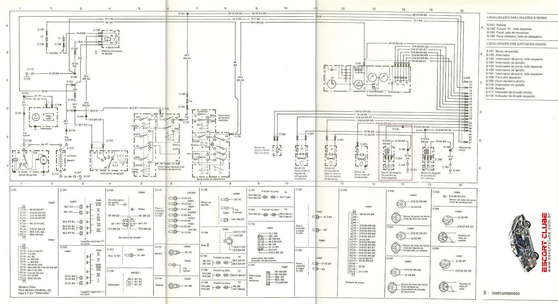 Ford Circuito Eletrico Escort Gl 95 1 6i Jpg Diagramas De
