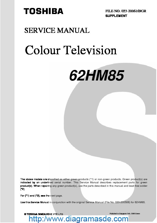 62HM85 Toshiba Service supplement.pdf