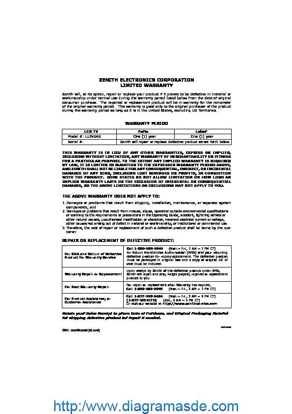 Lg Flat Tv L15v24s Informacion De Garantia Pdf Lg