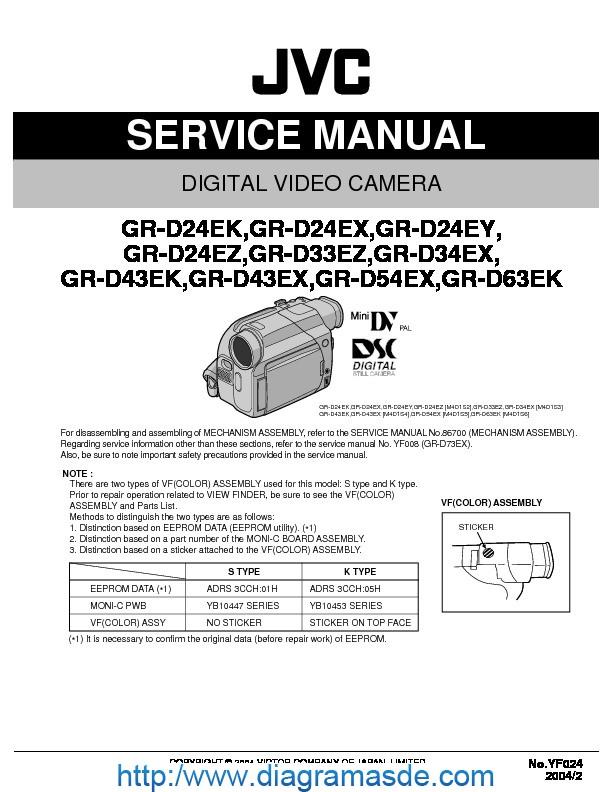 Jvc Camcorder Gr-d24e  U2013 Manual De Servicio Pdf Jvc
