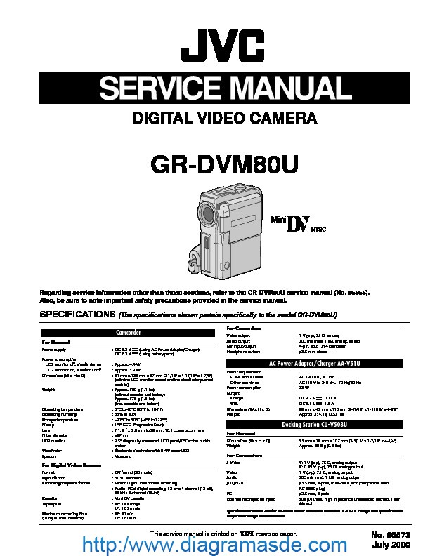 Jvc Camcorder Gr-dvm80u  U2013 Manual De Servicio Pdf Jvc