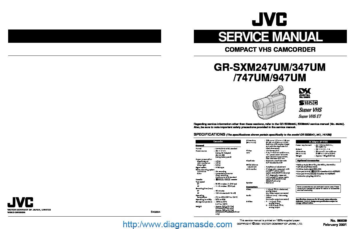 Jvc Camcorder Gr-sxm947um  U2013 Manual De Servicio Pdf Jvc