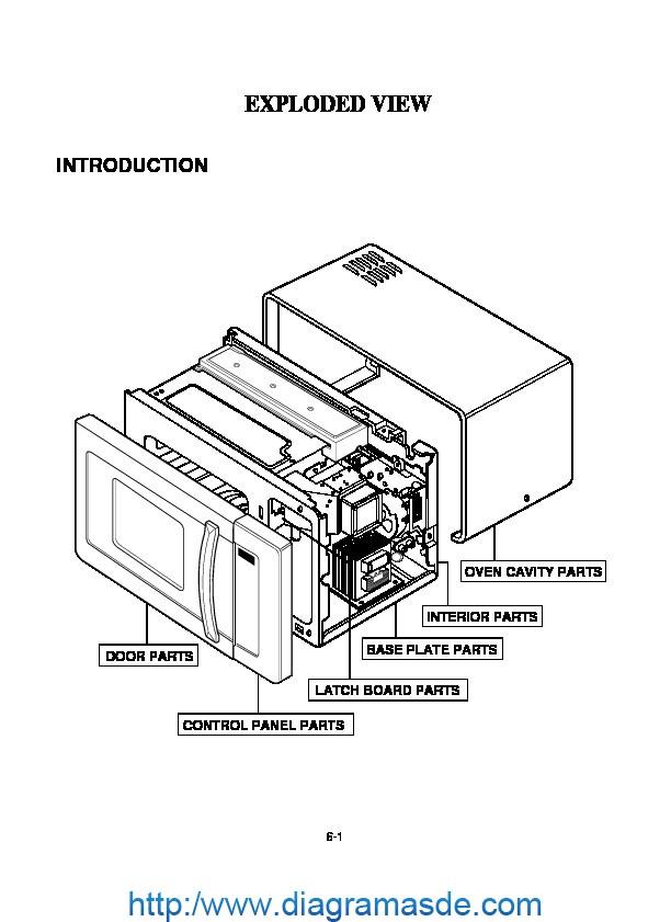 diagrama de ensamblaje microondas lg modelo mg