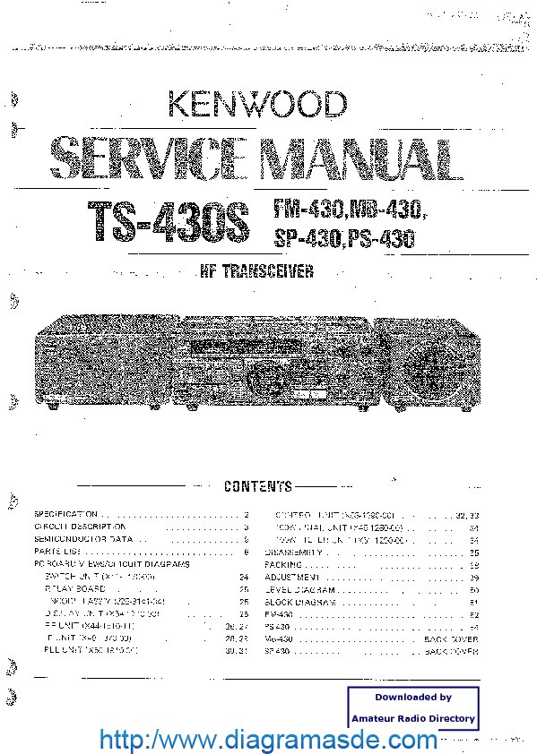 Kenwood Trio Ts430s Hf Tranciever Service Manual Pdf Kenwood