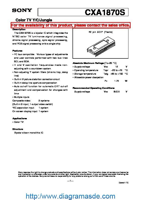 Cxa1870s Pdf Sony Ic Jungla Varios Modelo De Sony