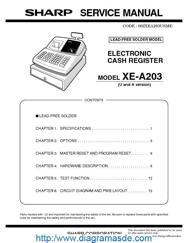 sharp xe a203 manual pdf