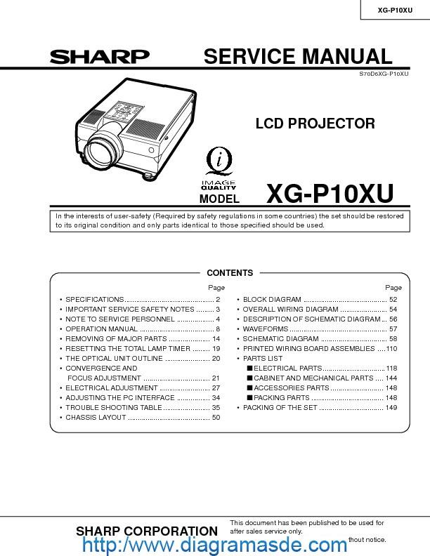 Xgp10xu Pdf Sharp Xg-p10xu