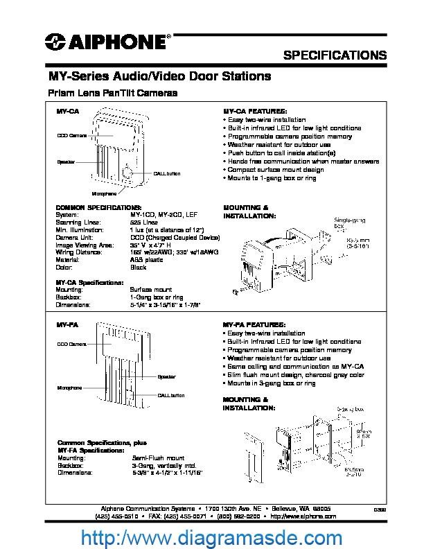 Aiphone MY-CA, MY-FA Spec Sheet.pdf
