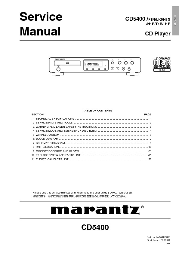 MARANTZ CD5400 CD PLAYER.pdf