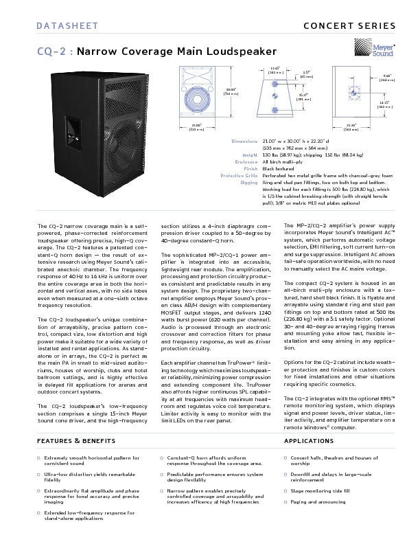 MEYER SOUND CQ-2 Narrow Coverage Main Loudspeaker.pdf