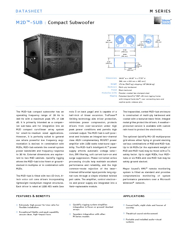 Meyer Sound M2D-Sub Compact Curvilinear Array.pdf