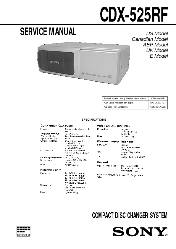 CDX-525RF sony car COMPACT DISC CHANGER SYSTEM.pdf
