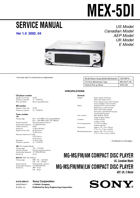mex-5di Sony car MG-MSFM-AM COMPACT DISC PLAYER.pdf
