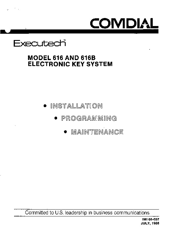 Comdial ExecuTech Model 616 and 616B Installation.pdf