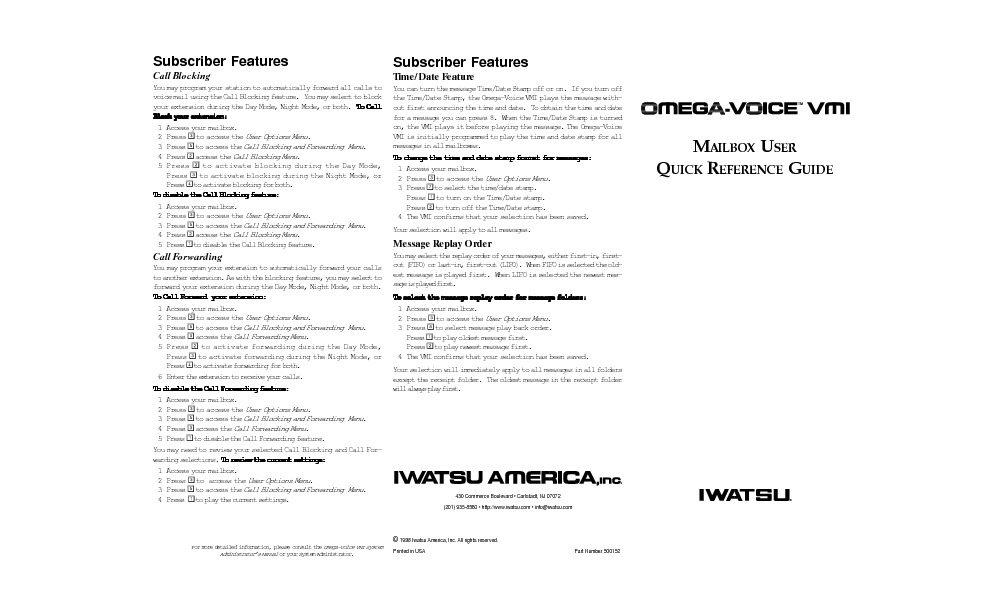 Iwatsu Omega-Voice VMI Mailbox User Quick Reference Guide.pdf