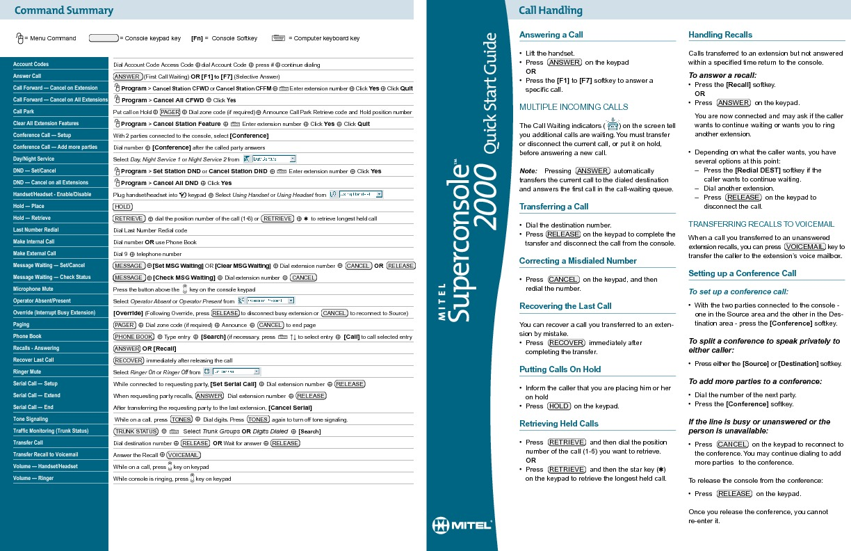 Mitel Superconsole 2000 Quick Start Guide.pdf