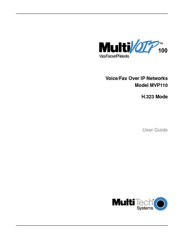 Multitech MVP 110 User Guide H323 Mode.pdf