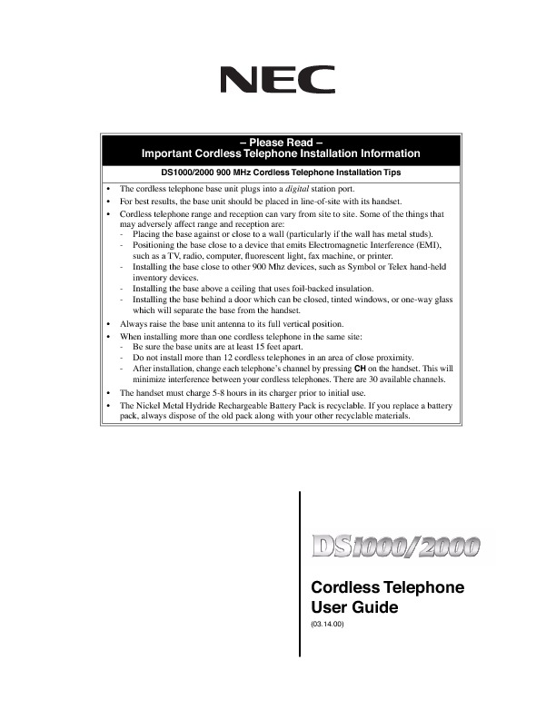 NEC DS1000 - 2000 Cordless Telephone User Guide.pdf
