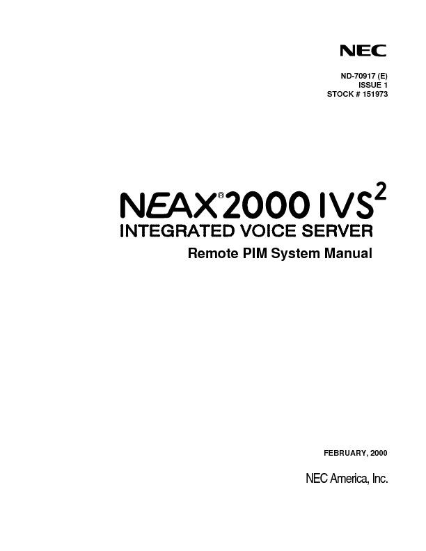 NEC NEAX2000 IVS2 Remote PIM System Manual.pdf