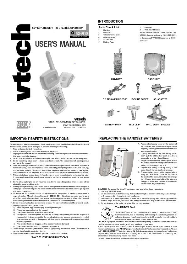 vt9110 900MHZ Cordless Telephone.pdf