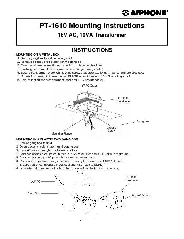 Aiphone PT-1610 16V AC Transformer for Builders Mounting Instructions.pdf