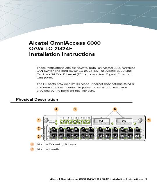 Alcatel OmniAccess 6000 OAW-LC-2G24F Installation Guide.pdf