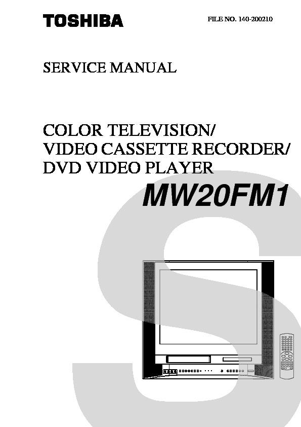 Toshiba Mw20fm1 Pdf Diagramas De Televideo Tv Vcr Tv Dvd