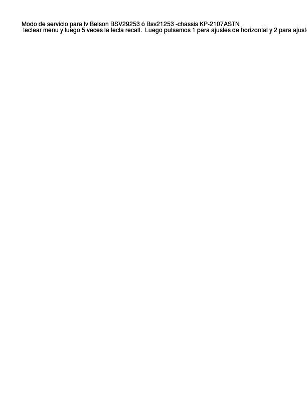 Belson Modo De Servicio Tv Belson  Txt Diagramas De
