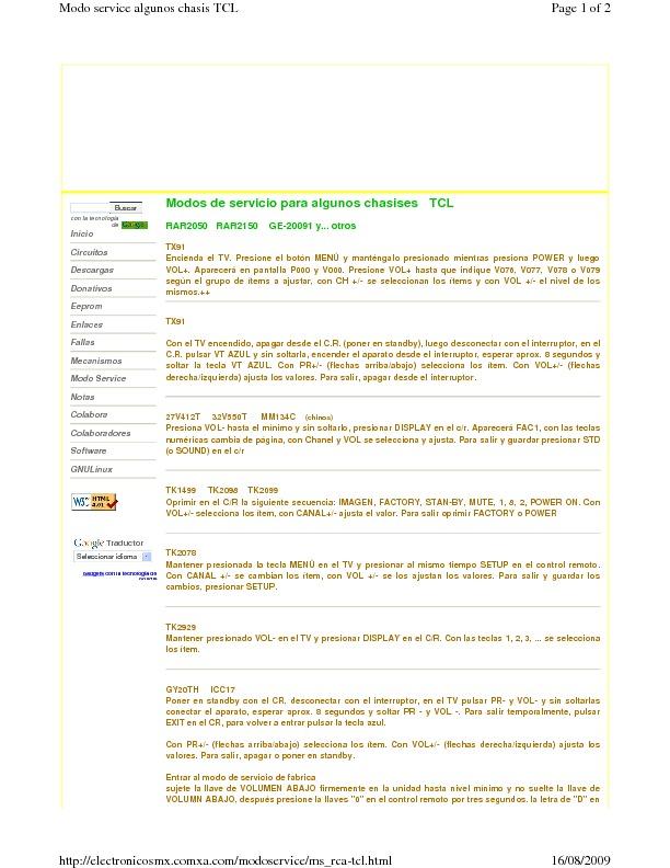 Tcl Tcl 2127 Modo Service Algunos Chasis Tcl Pdf Diagramas