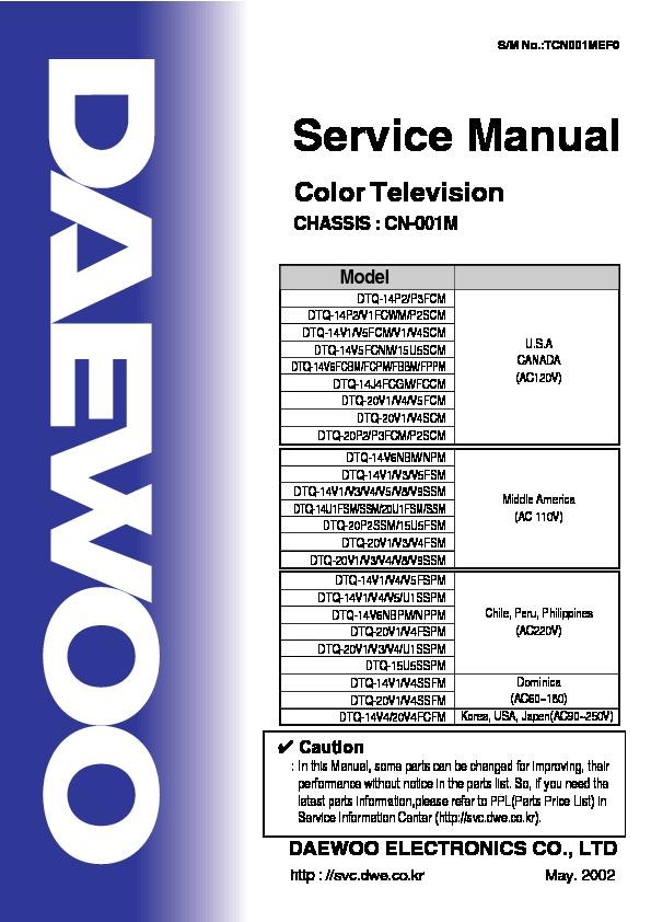 Daewoo Daewoo Dtq 14v1ss 14p2 14vi Cn 001m Pdf Diagramas De Televisores Lcd Y Plasma