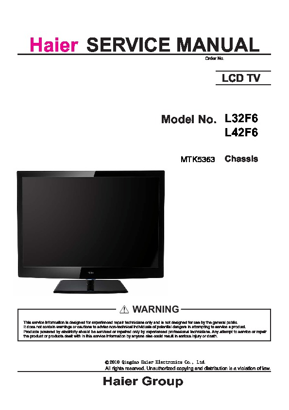 Haier Haier L32f6 L42f6 Chassis Mtk5363 Sm Pdf Diagramas De Televisores Lcd Y Plasma