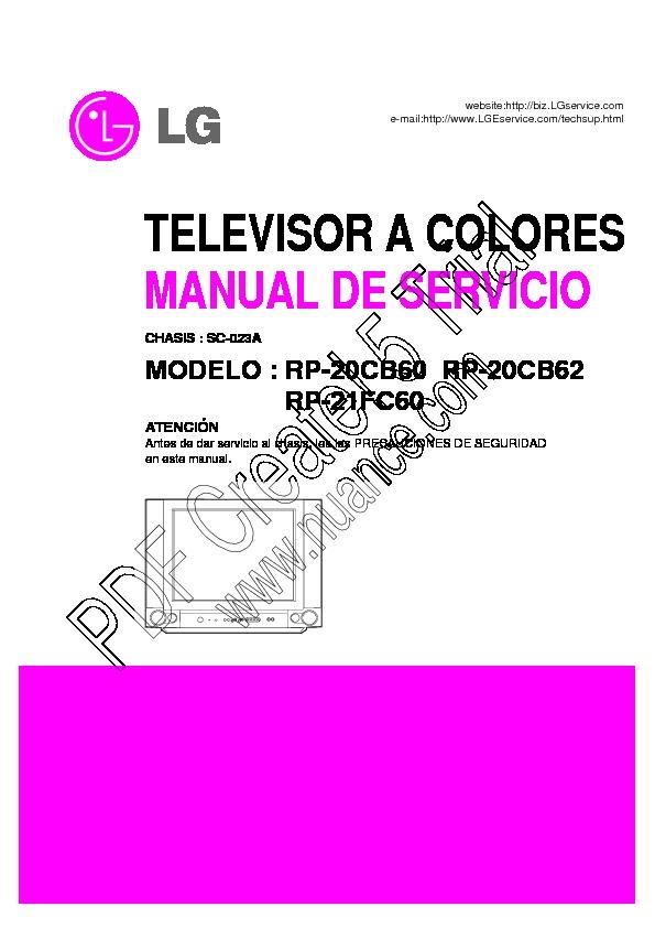 Lg Rp 21fc60 Sc 023a Manual Tv Lg Rp20cb60 Pdf Diagramas De Televisores Lcd Y Plasma