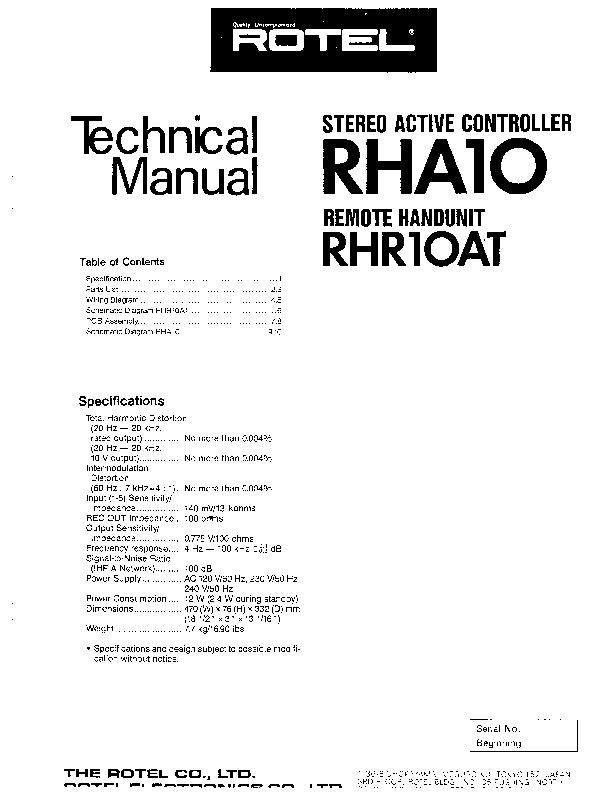 Rotel Rotel Rha 10 Service Manual Pdf Diagramas De Audio