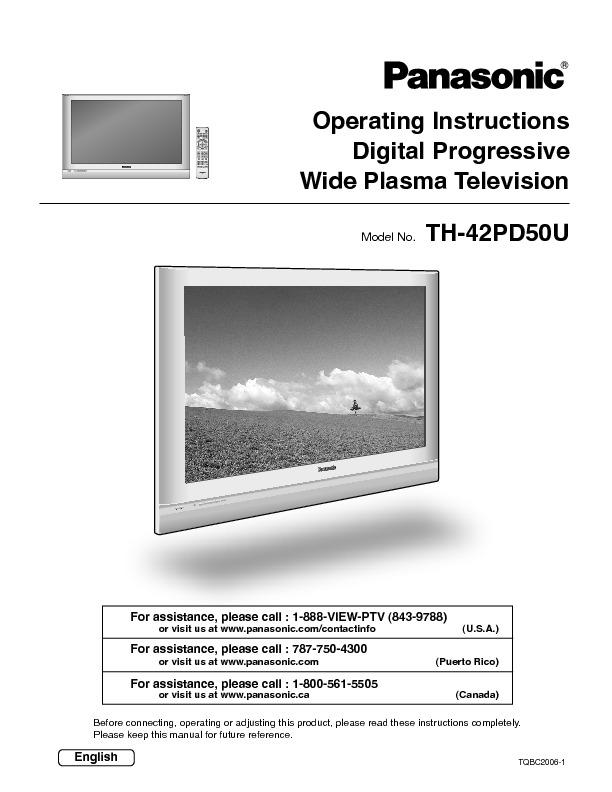 panasonic th-42pd50u 42 flat panel edtv plasma tv manual.pdf
