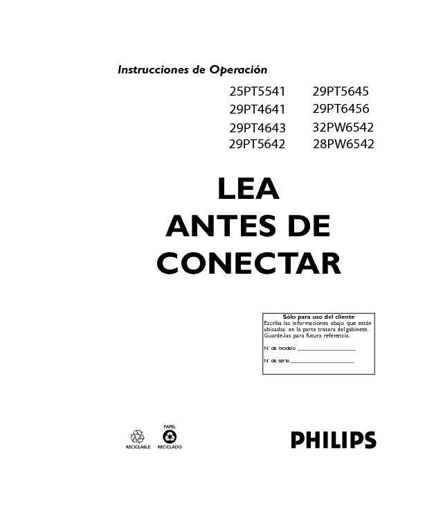 Philips Philips 29pt5645 77 Pdf Diagramas De Televisores