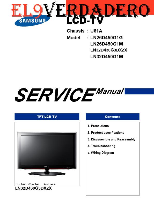 Samsung Samsung Ln26d450g1g Ln26d450g1m Ln32d430g3dxzx Ln32d450g1m Chassis U61a Sm Pdf Diagramas