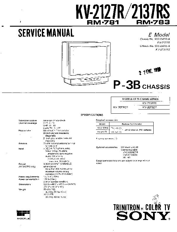 Sony Kv 2137rs 2127r Kv 2127r 2137rs Pdf Diagramas De