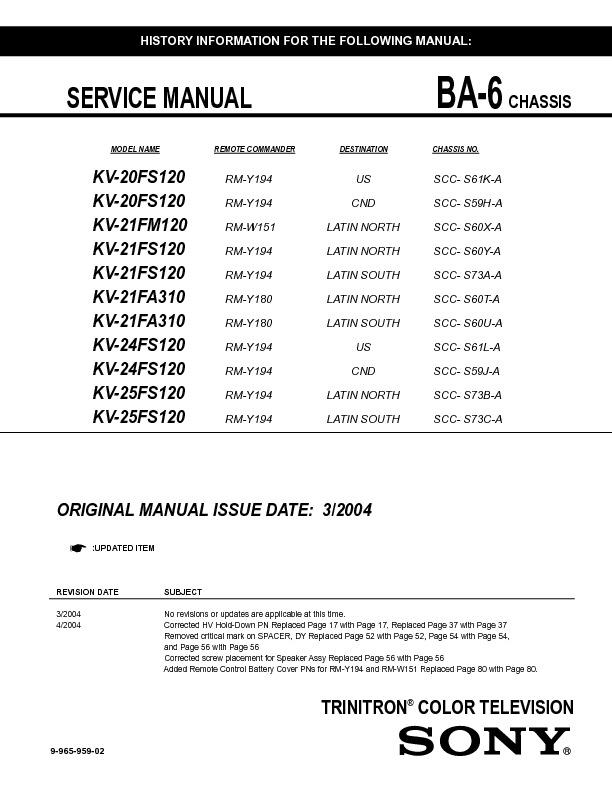 KV-21FM120 KV-21FS120 KV-21FA310 KV-25FS120.pdf